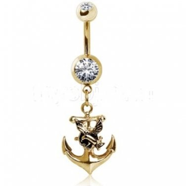 Gold Plated Navel Ring with Anchor and Seagull Dangle