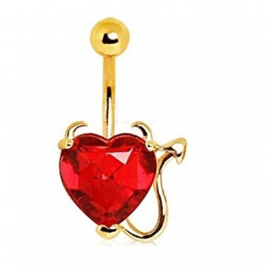 Gold Plated Red Devil Heart Navel Ring