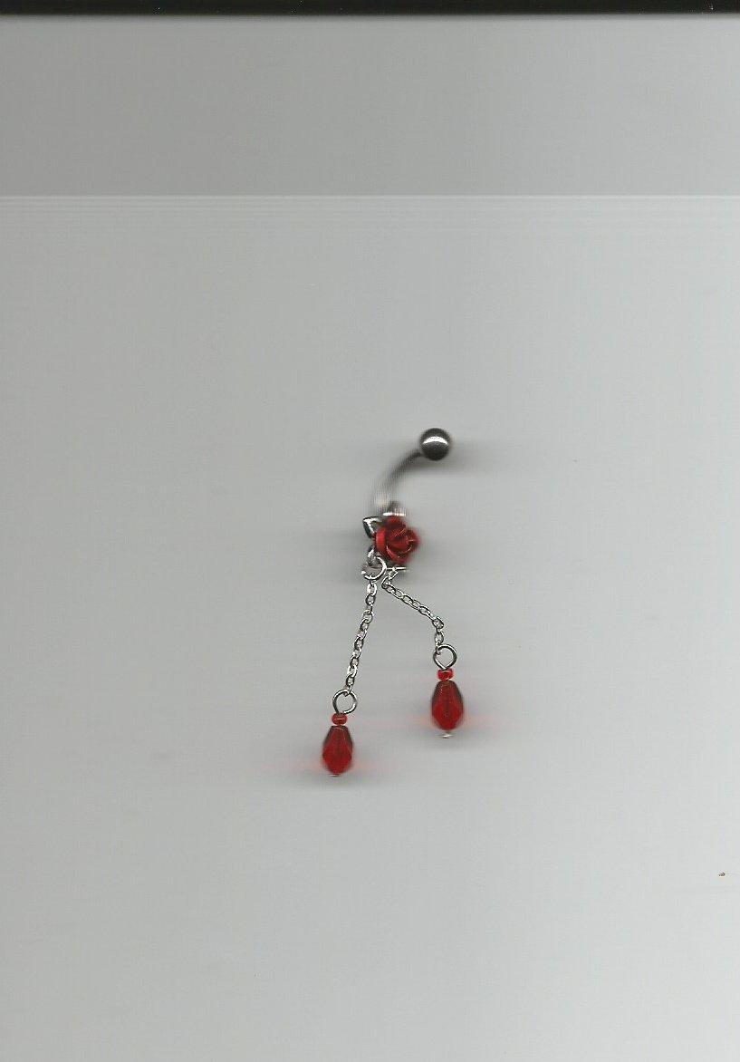 RED ROSE DANGLE w/TEAR DROPS