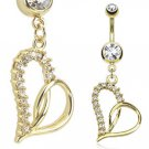 Loop Heart Multi Paved Gemmed Dangle 14kt Gold Plated Navel Ring
