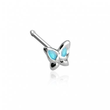 Epoxy Colored Aqua Winged Butterfly  .925 Sterling Silver Nose Stud