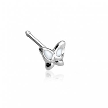 Epoxy Colored Clear Winged Butterfly  .925 Sterling Silver Nose Stud