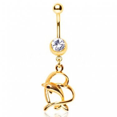 Gold Plated Leaping Dolphin and Heart Dangle Navel Ring