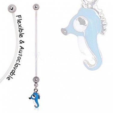 BioFlex Aqua Seahorse Pregnancy Navel Ring
