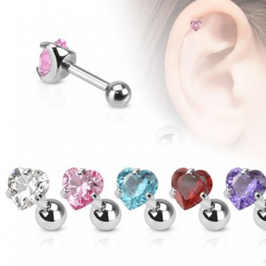 Heart With Aqua CZ Tragus/Cartilage Piercing Studs