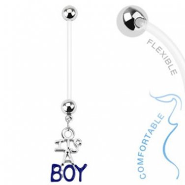 Baby Gender Boy Dangle Bio Flex Pregnancy Navel Ring