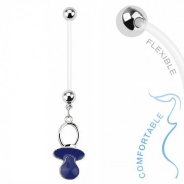 Baby Pacifier Blue Dangle Bio Flex Pregnancy Navel Ring