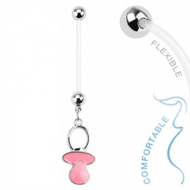 Baby Pacifier Pink Dangle Bio Flex Pregnancy Navel Ring