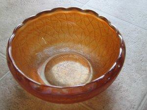 Ruffled Edge Marigold Crackle Carnival Glass Bowl