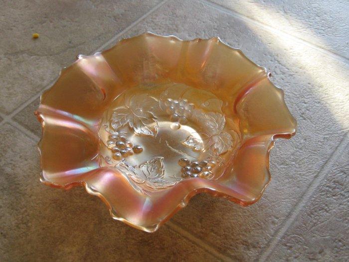 Dugan's Golden Grape Ruffled Carnival Glass Bowl in Marigold