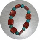 NATURAL TURQUOISE & CORAL BRACELET TCB225