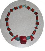 NATURAL TURQUOISE & CORAL NECKLACE TCN17056