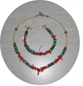 NATURAL TURQUOISE & CORAL & STERLING SET TCNB17056