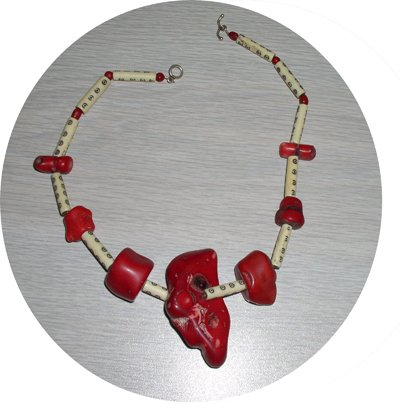 RED CHUNK CORAL & BONE NECKLACE CCN44536