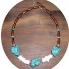 TURQUOISE CHUNK, SHELL & WOOD BEADED NECKLACE TN127056