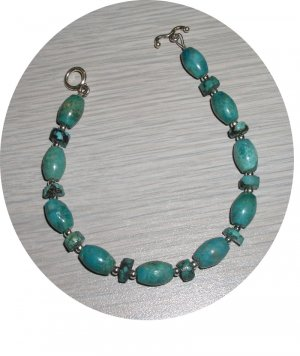 OVAL & DISK TURQUOISE WITH STERLING BRACELET TB335