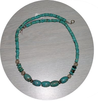 OVAL & DISK TURQUOISE NECKLACE TN58064