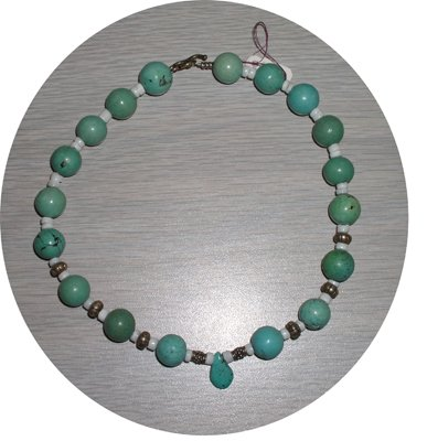 ROUND TURQUOISE, SHELLS & STERLING NECKLACE TN77056