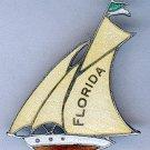 ART DECO ENAMEL FLORIDA SAILBOAT PIN