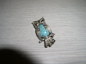BEAU OWL PIN STERLING & FAUX TURQUOISE
