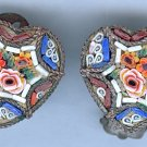 Vintage Italian Mosaic Heart Clip ons