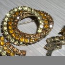 Vintage 3 circle topaz brooch and earring