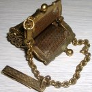 Beautiful Vintage Gold Metal Chatelaine Miniature Purse
