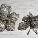 Vintage Sterling Silver Filigree Butterfly Earrings