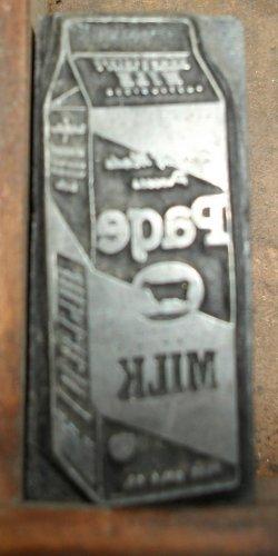 Vintage Page Milk Company Printers Block