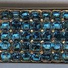 Vintage gold toned & blue rhinestone  Boucher air metal
