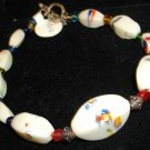 Vintage white w multi colored swirl designed glass bracelet