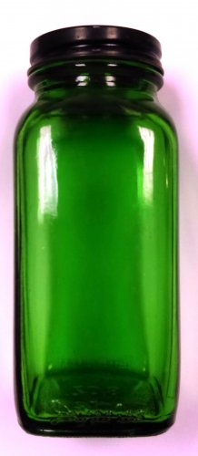 "Vintage DURAGLAS Dark Green Square Glass Bottle w Black Metal Lid, 5.5"" Tall, 8 Oz"