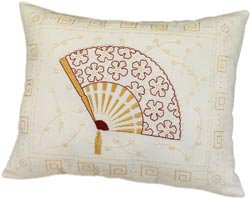 Oriental Fan Pillow Candlewicking Embroidery Kit