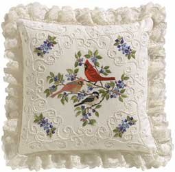 Birds and Berries Pillow Candlewicking Embroidery Kit