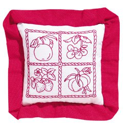 Vintage Fruit Redwork embroidery Pillow kit (floss)