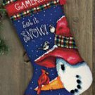 Snowman Perch Stocking Needlepoint Kit (wool/floss)