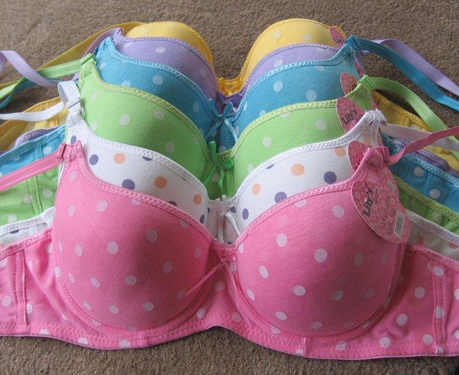 Six 6 Pcs Pushup Polka Dot Bras -different sizes