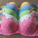 Six 6 Pcs Pushup Polka Dot Bras -different sizes