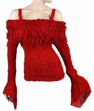 NEW~Sexy Red Off-Shoulder Bell Sleeve Diva Top~ 3X NWT