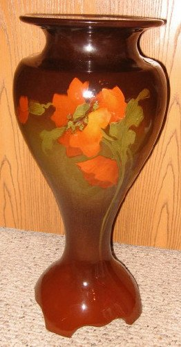 ANTIQUE WELLER LOUWELSA JARDINERE PEDESTAL PLANTER ROSEVILLE