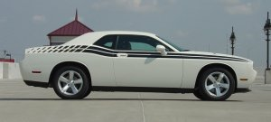 DUAL w/ Bold Extensions : Vinyl Graphics Kit 2008 2009 2010 2011 2012 2013 Dodge Challenger