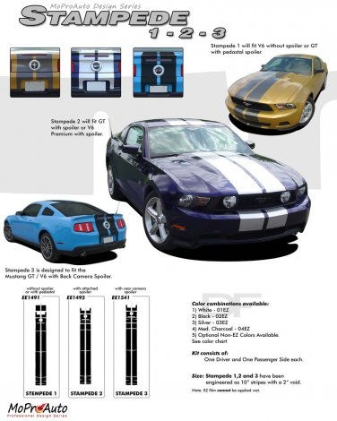 """Ford Mustang 2010 2011 2012 """"STAMPEDE"""" Racing and Rally Stripes Kit"""