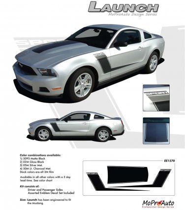 """Ford Mustang 2010 2011 2012 """"LAUNCH"""" Roush Style Side and Hood Stripes Kit"""