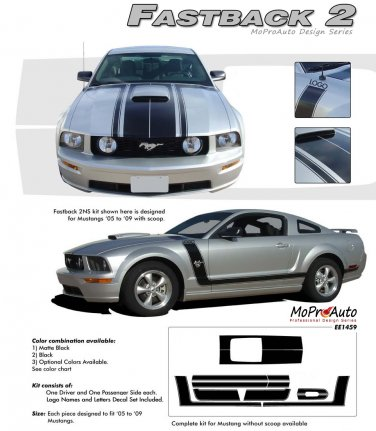 "Ford Mustang 2005 2006 2007 2008 2009 ""FASTBACK 2"" BOSS Style Side and Hood Stripes Kit"