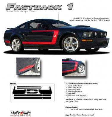 """Ford Mustang 2005 2006 2007 2008 2009 """"FASTBACK 1"""" Style Side Stripes Kit"""