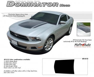 """Ford Mustang 2010 2011 2012 """"DOMINATOR HOOD"""" Hood Decal Graphic and Stripes Kit"""