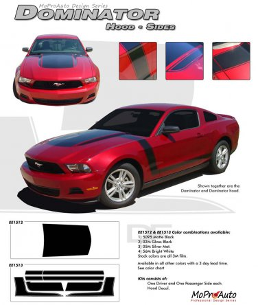 "Ford Mustang 2010 2011 2012 ""BOSS"" Style Dominator Hood and Side Stripes Kit"