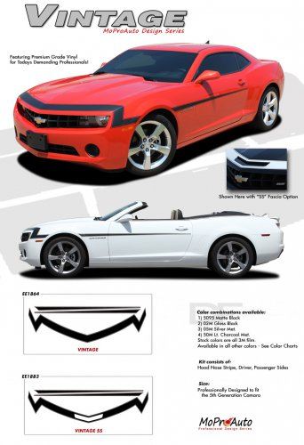 VINTAGE : 2010 2011 2012 2013 2014 Chevy Camaro '68 Style Hood and Fender Vinyl Graphic Stripes