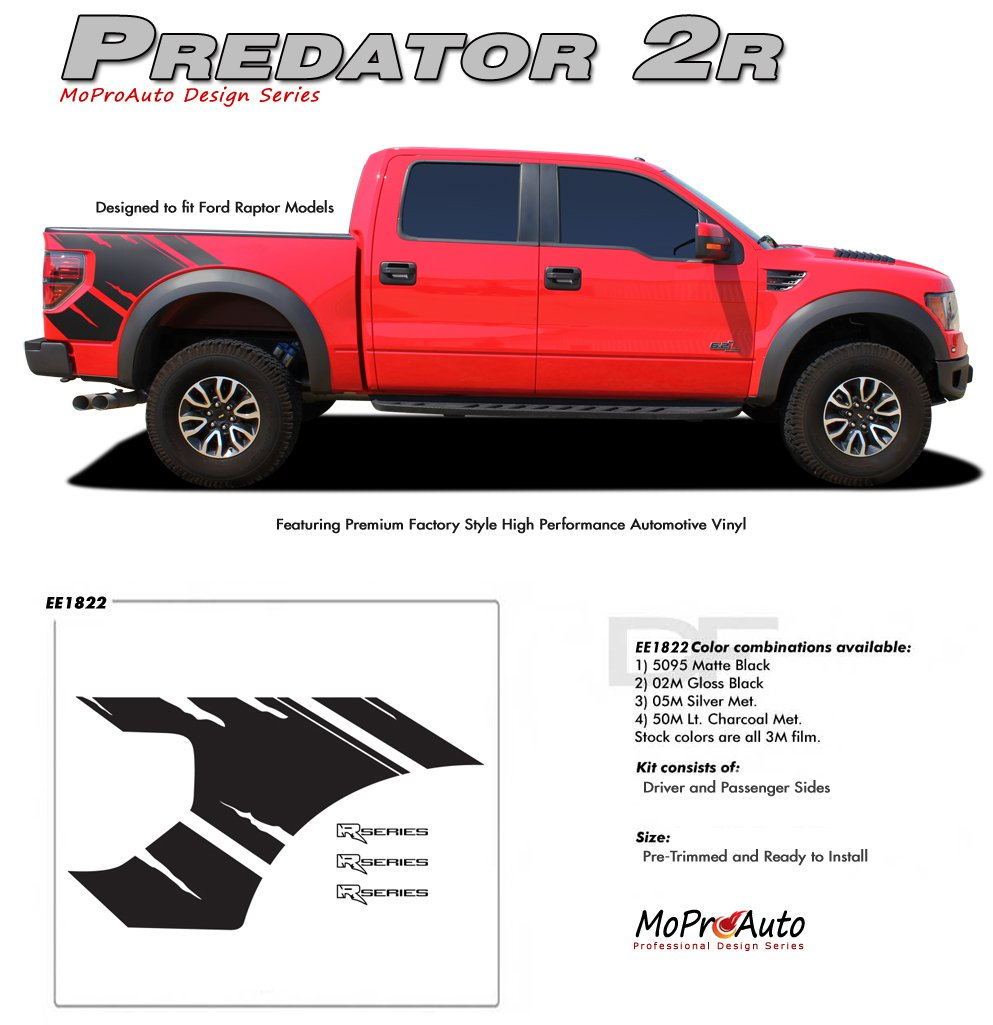 "PREDATOR 2R : Ford ""Raptor"" Style Vinyl Graphics Decals Kit 2009 2010 2011 2012 2013 Models"