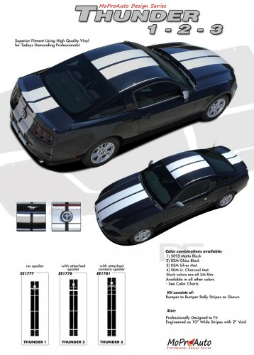 THUNDER : 2013-2014 Ford Mustang Racing and Rally Stripes Vinyl Graphics Kit